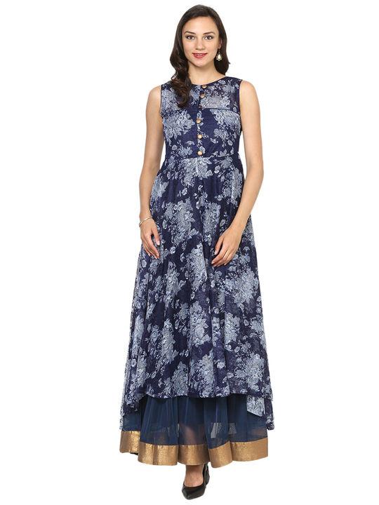 Aujjessa Navy Blue Tiered Asymmetrical Gown