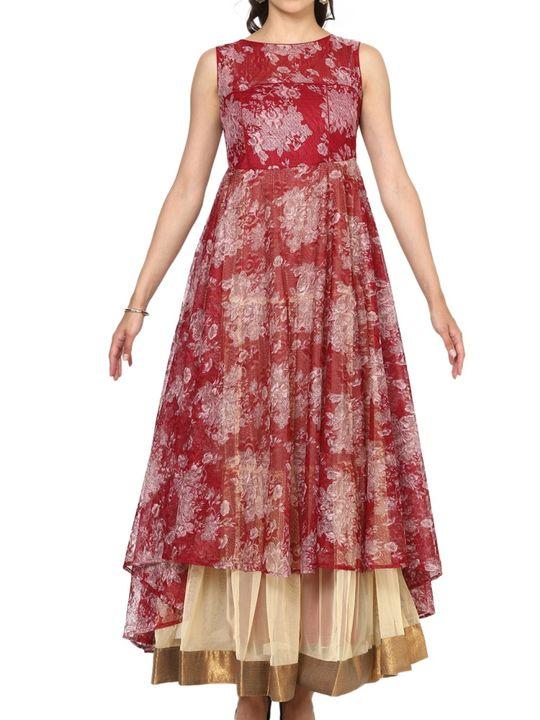 Aujjessa Maroon Tiered Asymmetrical Gown