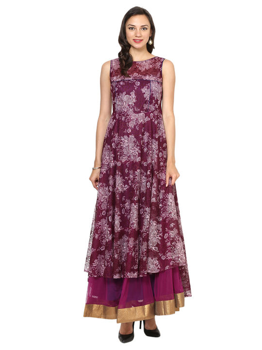 Aujjessa Purple Tiered Asymmetrical Gown