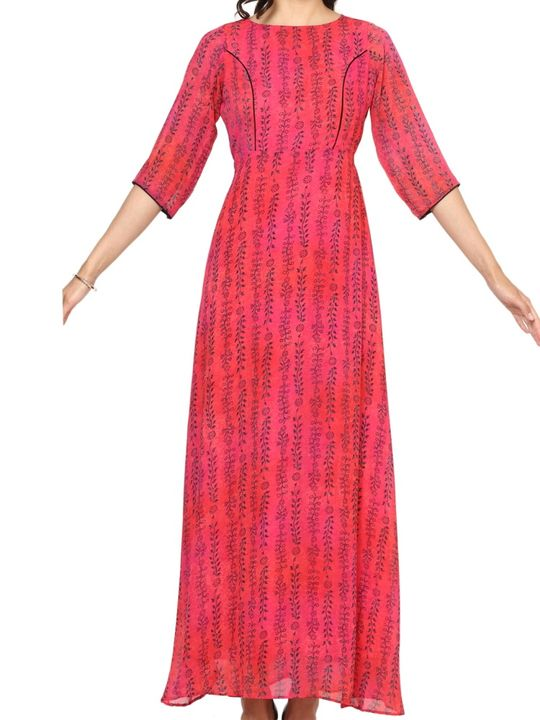 Aujjessa Fuschia A-Line Maxi Dress
