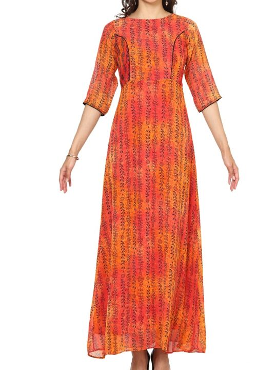 Aujjessa Orange Red A-Line Maxi Dress