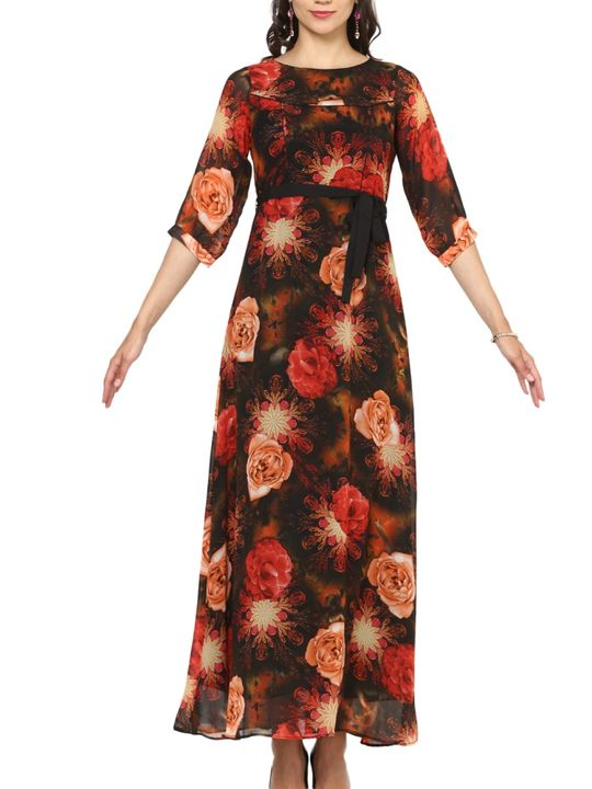 Aujjessa Black Multi A-Line Maxi Dress