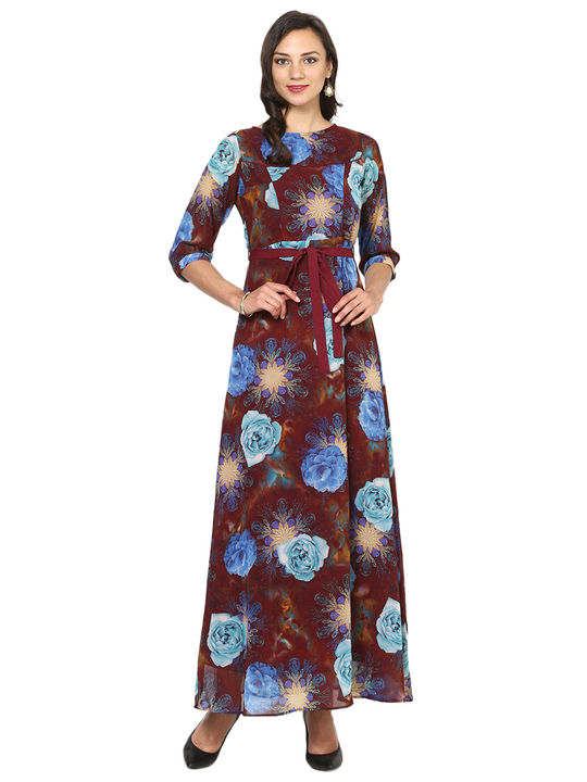 Aujjessa Brown Turquoise A-Line Maxi Dress