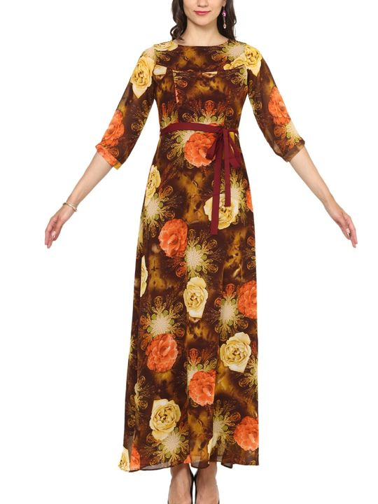 Aujjessa Brown Orange A-Line Maxi Dress
