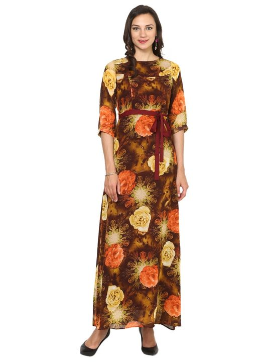 Aujjessa Brown Orange A-Line Maxi Dress