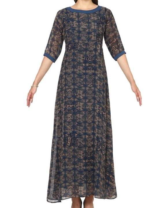 Aujjessa Navy Blue A-Line Maxi Dress