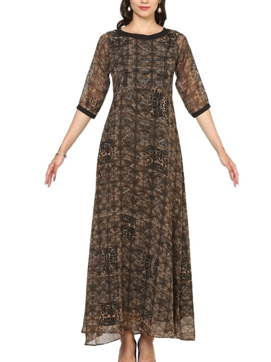 Aujjessa Black A-Line Maxi Dress