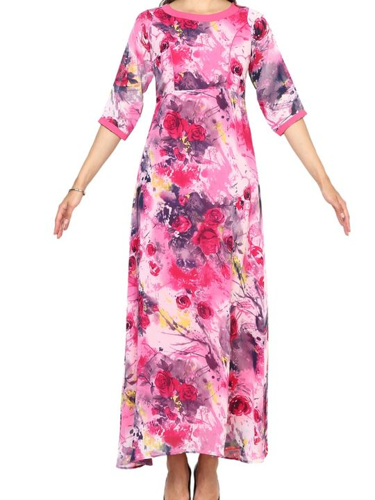 Aujjessa Fuschia Multi A-Line Maxi Dress