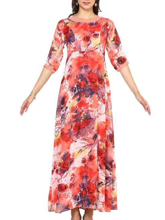 Aujjessa Peach Multi A-Line Maxi Dress