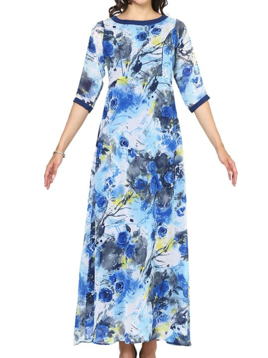 Aujjessa Blue Multi A-Line Maxi Dress