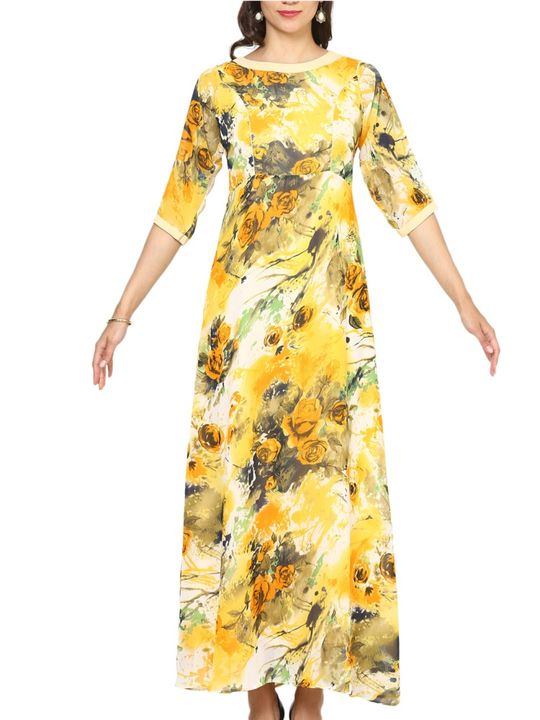 Aujjessa Yellow Multi A-Line Maxi Dress