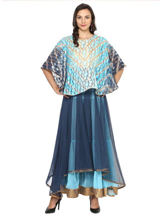Aujjessa Blue Tiered Cape Gown