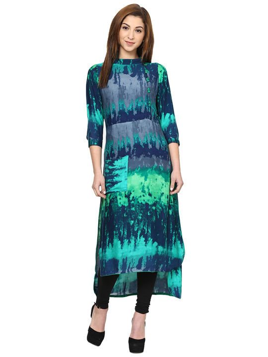 Aujjessa Sea Green Ombre High Low Kurta