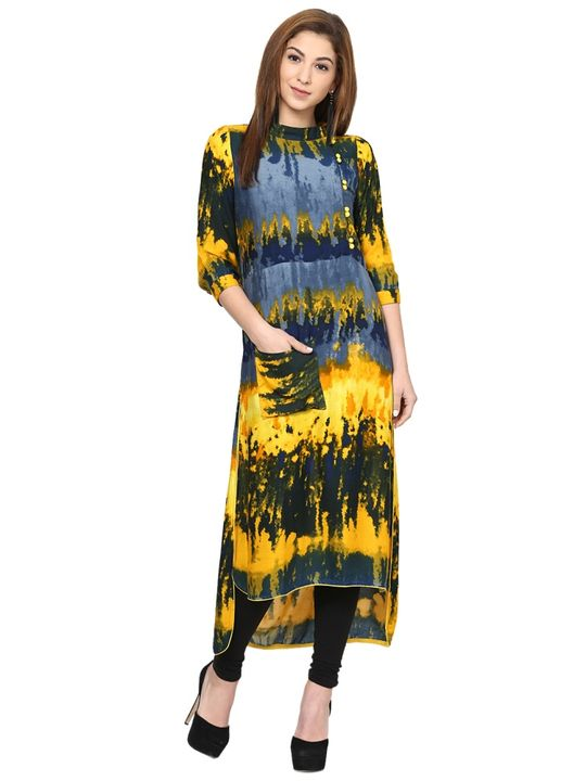 Aujjessa Yellow Ombre High Low Kurta