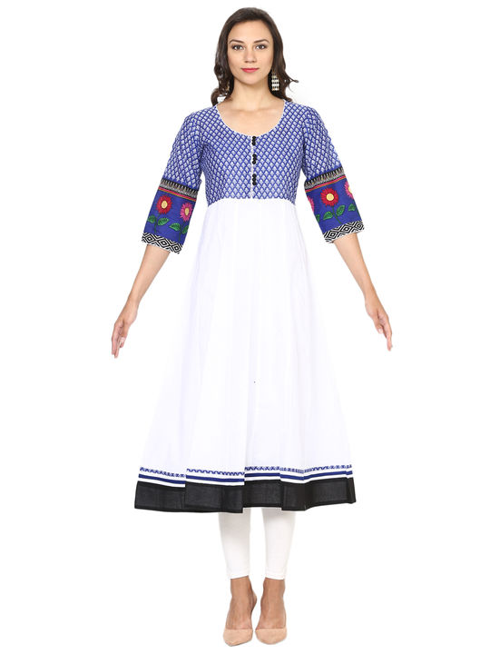 Aujjessa White Blue Cotton Anarkali Kurta