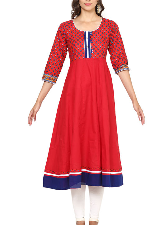 Aujjessa Red Multi Cotton Anarkali Kurta