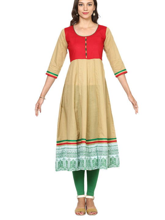 Aujjjessa Faun Red Cotton Anarkali Kurta
