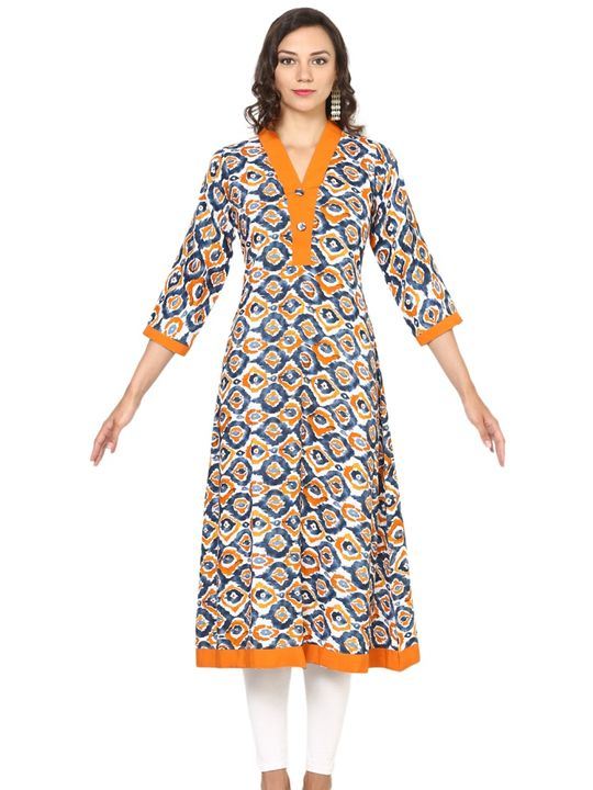 Aujjessa White Orange Rayon A-Line Kurta