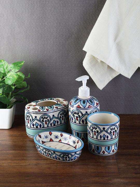 The Royal Crown Blue Ceramic 4 Piece Bathroom Accessories