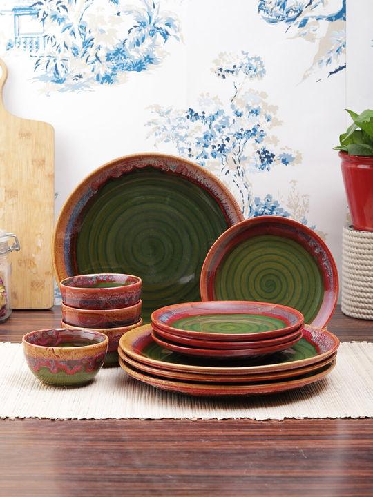 Red Green Ceramic 12 Pieces Dinner Set Dinner Plates