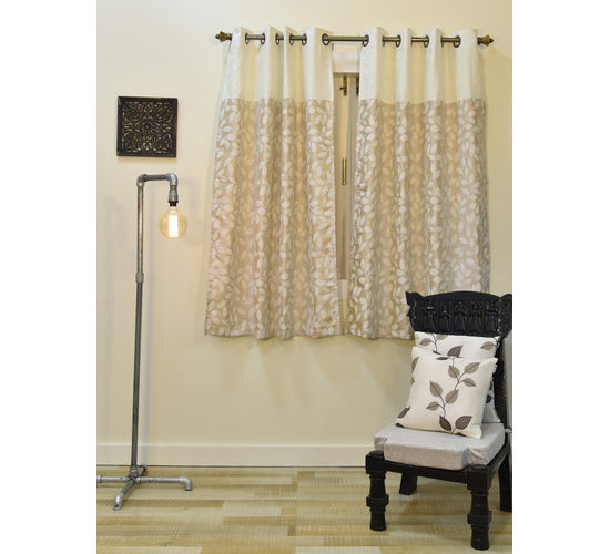 Ariana Arrow Leaf 1 Piece Polyester Eyelet Window Curtain