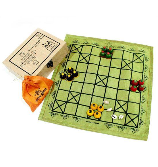 Ashta Chamma / Chowka Bara / Katta Mane / Ludo board game (Crafted in raw  Silk)