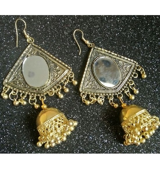 dde427d53 RECTANGLE SHAPE WITH MIRROR JHUMKA EARRING GOLD