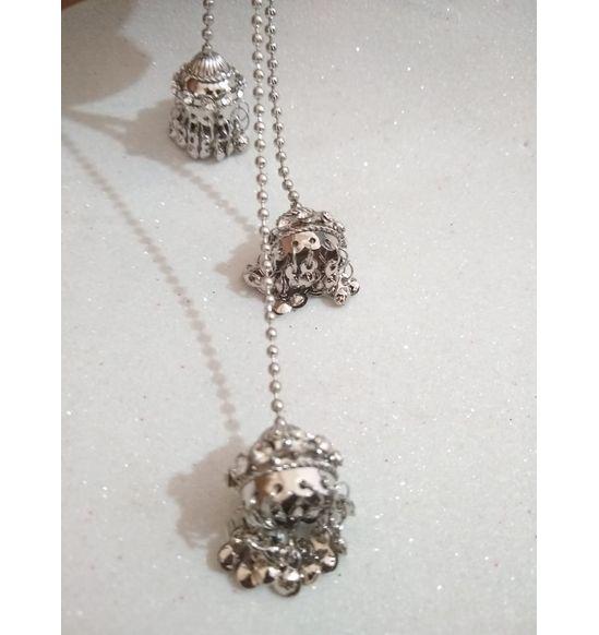 Bahubali Jhumka Earrings With Long Chain Diamond Pearl Alloy