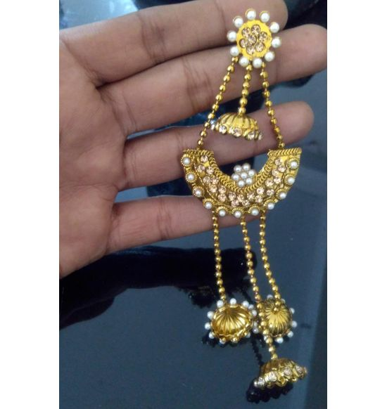 Gold Plated Long Bahubali Jhumkis Jhumka Earrings With Chain For Women