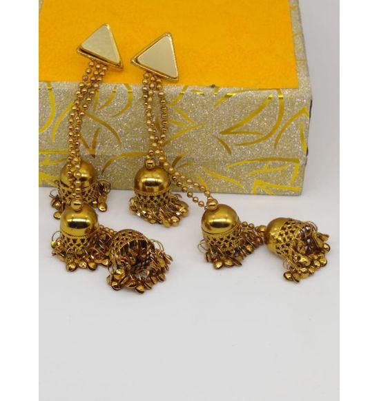 Rectangle Shape Glass And Long Chain Jhumka Earring