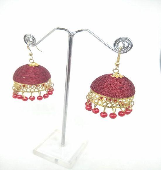2c45ae9e0 Mehroon Silk Thread Jhumka Earrings Silk Dori, Fabric Jhumki Earring