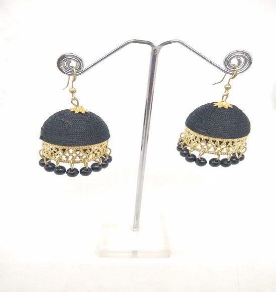 83fae57f3 Black Silk Thread Jhumka Earrings Silk Dori, Fabric Jhumki Earring