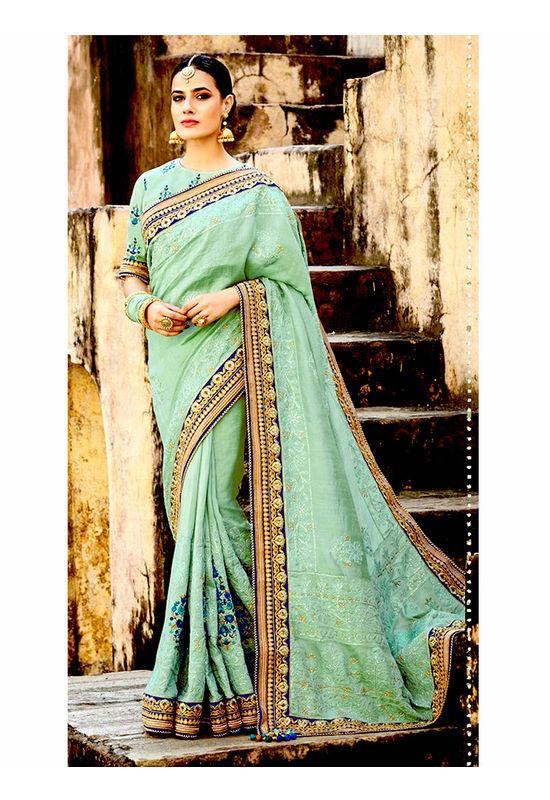 Pure Tussar Silk Embroidered Saree with Chikankari Work