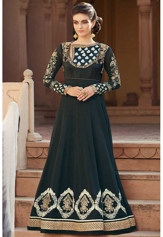 Long Black Heavy Yoke Anarkali Suit with Parsi Work