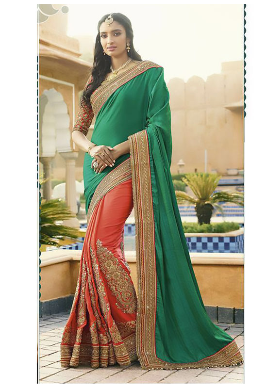 Pink and Green Wedding Saree with Heavy Embroidery