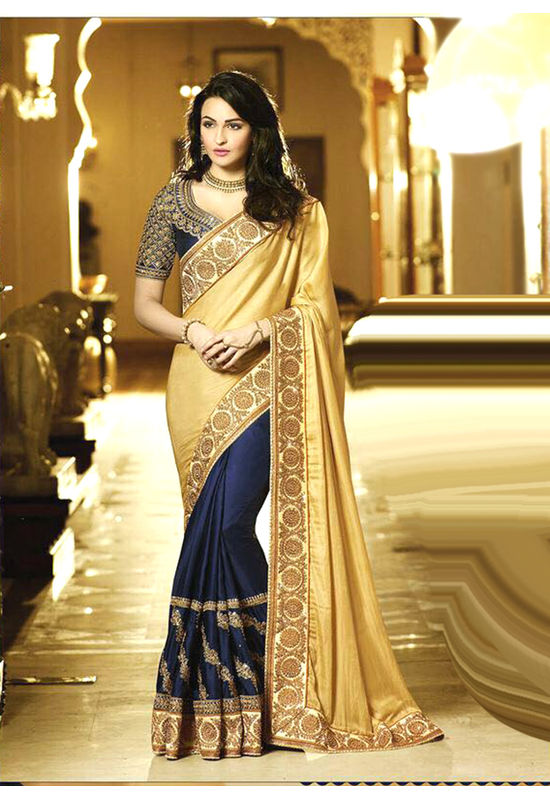 Blue with Mustard Yellow Color Wedding Saree with Embroidery