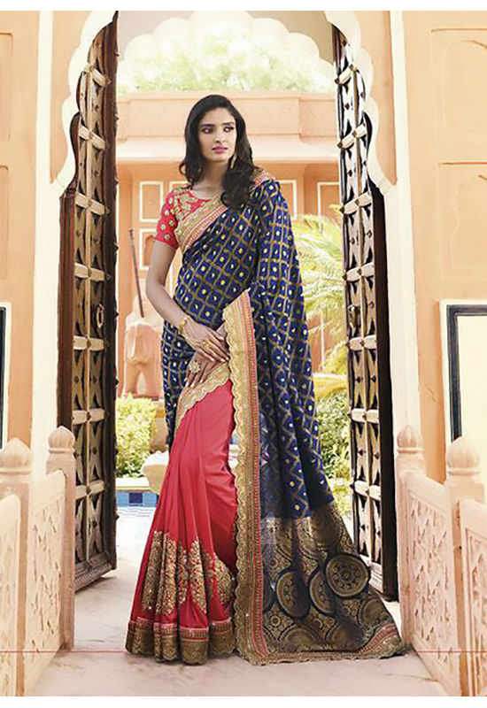 Pink and Blue Wedding Saree with Heavy Embroidery