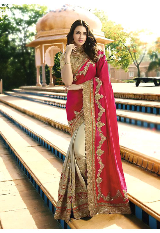 Pink and Biege Wedding Saree with Heavy Embroidery