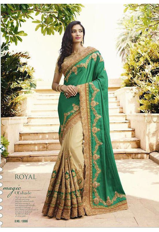 Green and Beige Wedding Saree with Heavy Embroidery