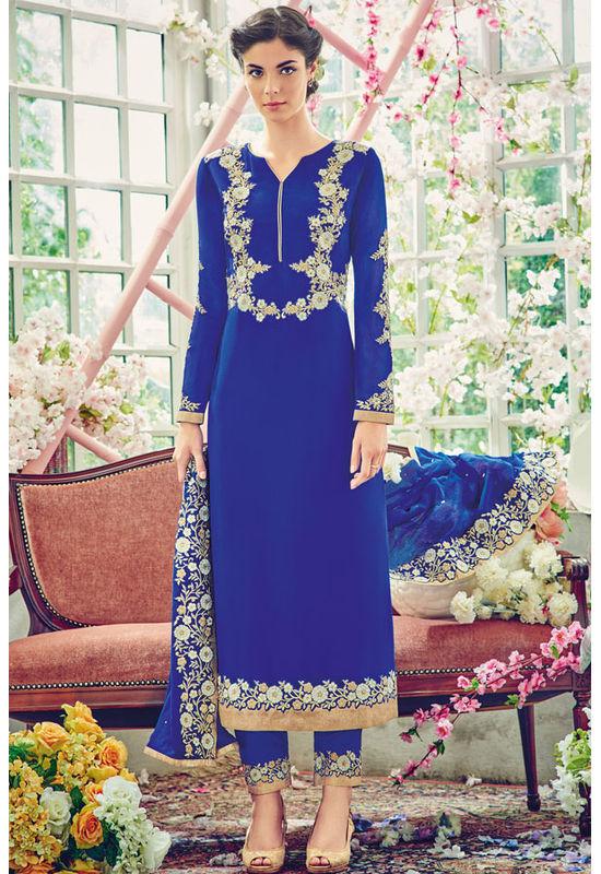 Blue Color Georgette Partywear Straight Suit