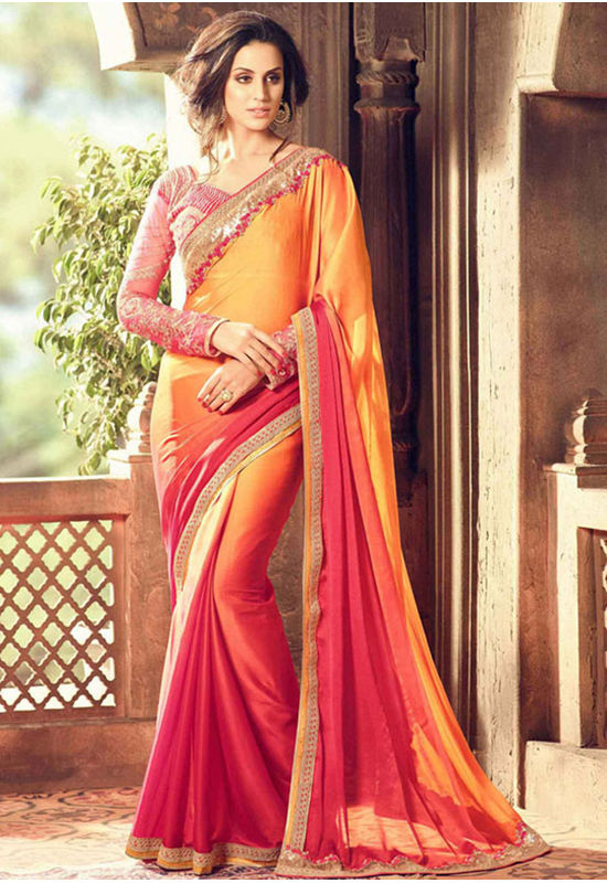Party Wear Saree in Orange  Color with Designer Blouse