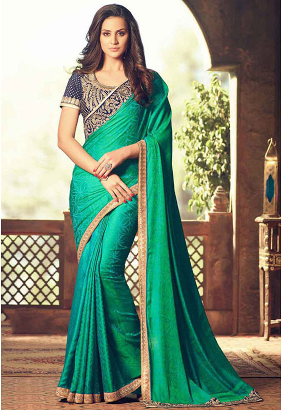Party Wear Saree in Green Color with Designer Blouse