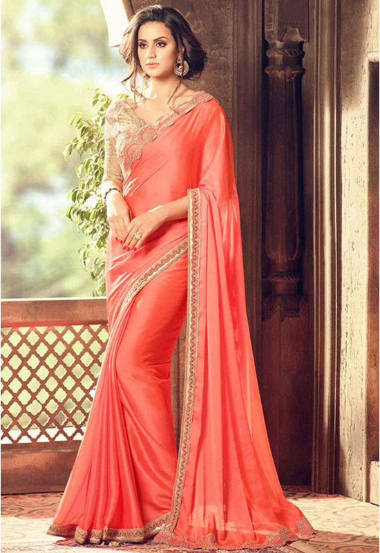 Party Wear Saree in Peach  Color with Designer Blouse