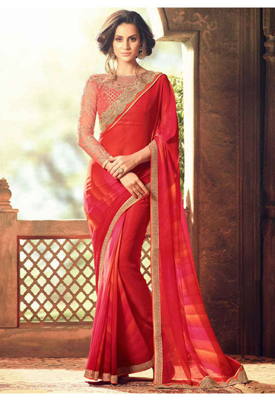 Party Wear Saree in Red and Silver  Color with Designer Blouse