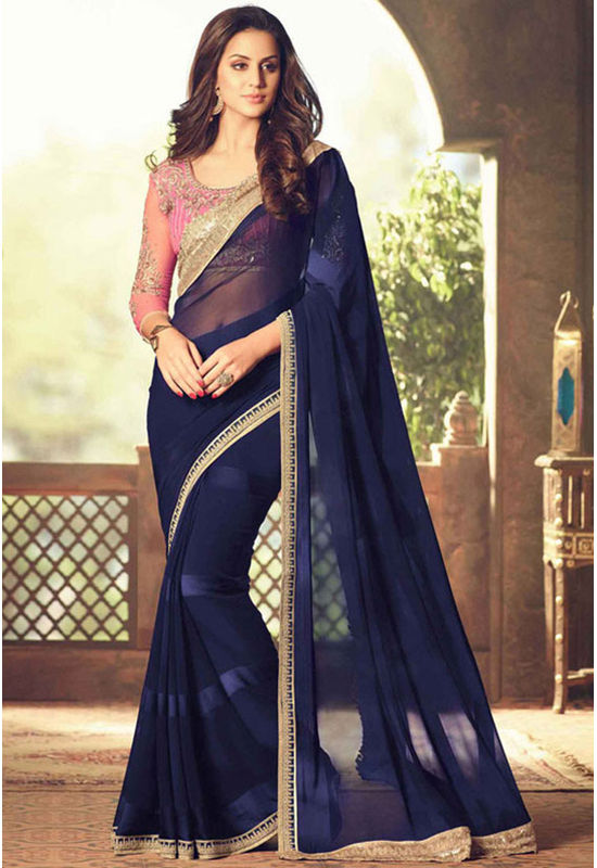 Party Wear Saree in Blue Color with Designer Blouse