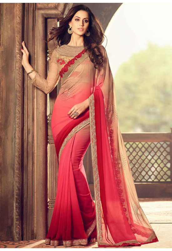 Red Color Party Wear Saree with Designer Blouse
