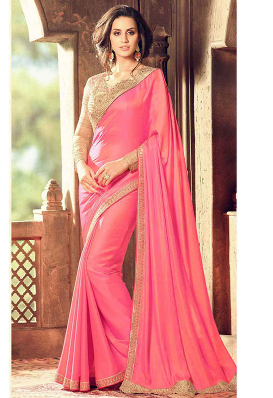 Pink Color Party Wear Saree with Designer Blouse