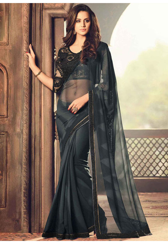 Party Wear Saree in Black  Color with Designer Blouse