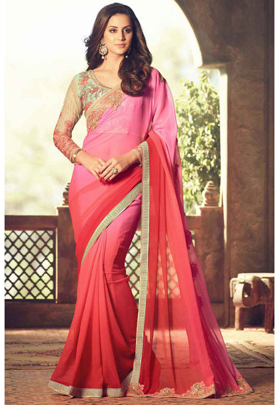 Shaded Pink Party Wear Saree with Designer Blouse