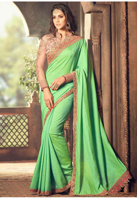 Green Color Party Wear Saree with Designer Blouse